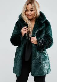 asos curve coat in green plush faux fur 128