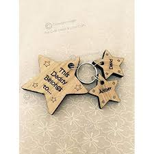 fathers day mother s day personalised wooden star keyring family design dad grandad mum nan