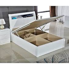 grace high gloss mdf wooden ottoman storage bed with flat base and led light 1 of 12free see more