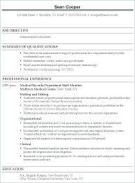 Administrative Resume Objectives Resume Format For Medical Job New