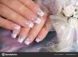 Francouzské Svatební Manikúra Průsvitnou Glitrů Bílé Tečky Detail