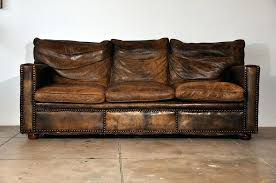 worn leather couch great distressed sofa brown bed furniture repair spot
