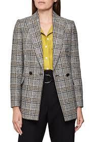 Leighton Windowpane Check Double Breasted Blazer In Yellow Check