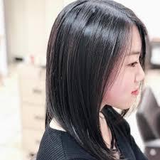 黒髪ミディアムストレートヘア前髪あり前髪なしストレートのやり方