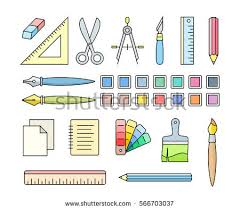 office drawing tools. Vector Icons Of Art And Office Supplies. Drawing Painting Tools For Workshop.