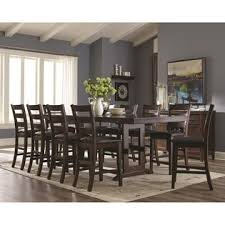 modern counter height table. Coaster New Modern Counter Height Dining Table W Trestle Style Base Matching Ladder Back 10 Chairs 11pc Set