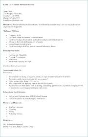 Entry Level Dental Assistant Resume Elegant Entry Level Resume