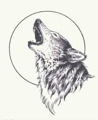 howling wolf drawing tattoo. Delighful Drawing Howling Wolf With Moon Inside Wolf Drawing Tattoo O