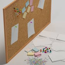 office pinboard. pin board for office tools obj with design decorating pinboard