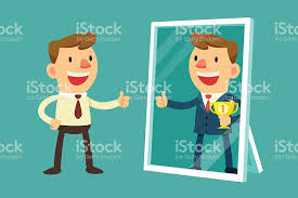 mirror reflection different clipart. the mirror vector art illustration imagine yourself successful reflection different clipart istock