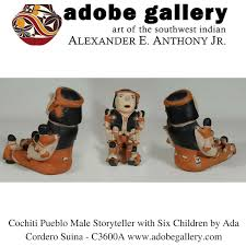 Cochiti Pueblo Male Storyteller with Six Children by Ada Cordero Suina -  C3600A #adobegallery | Storytelling, Native american stories, Native pottery