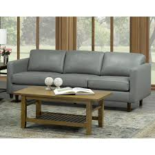 booker mid century modern grey top grain italian leather tufted sofa on free today 20847585