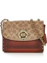 COACH Parker Signature Print Studded Cross-Body Bag - Brown Tan    veryexclusive.co.uk