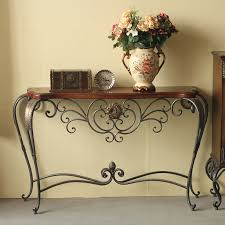 wrought iron and wood furniture. Wood And Wrought Iron Console Table Furniture E
