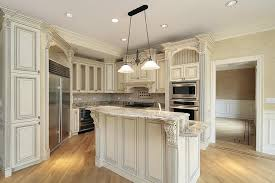 french country kitchen with antique white cabinets