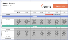 How To Make A Restaurant Work Schedule With Free Excel