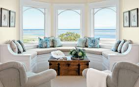 Interior:Beautiful Living Room For Beach Theme With Excellent Bay Window  And Rectangle Wooden Table