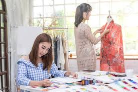 Fashion Designer Part Time Job Young Team Asian Designer Warking At Studio Fashion Designer