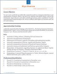Resume Blog Co Company Secretary Cs Trainee S Beautiful Company Secretary  Cv Format