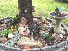 fairy garden around the tree fairy