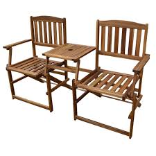 patio wise portable folding chair set two chairs with built in table acacia wood pwfn018 furniture chair set 838 furniture