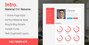 Resume Portfolio New Intro Material CV PortfolioResume PSD Template By CreativeGigs