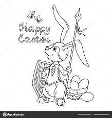 Easter Bunny Knight Met Een Lance En Schild Stockvector