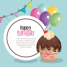Birthday Greetings Download Free Stunning Happy Birthday Card With Cupcake Vector Premium Download