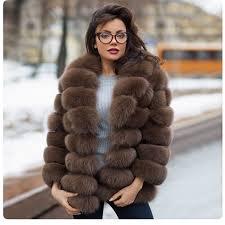 <b>FURSARCAR</b> 2018 <b>New Real</b> Natural Fox Fur Coat With Fur Collar ...