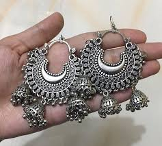 oxidised silver toned afghani chandbali
