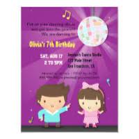 Childrens Disco Invitations Kids Dance Party Invitations Announcements Zazzle Uk