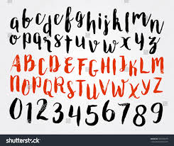 stock vector vector alphabet handwritten calligraphy letters and numbers letter set design