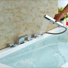 roman bathtub faucet deck mount pull out bathtub faucet set roman tub bathroom sink waterfall faucet