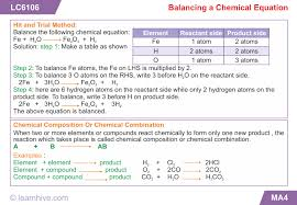 learning card for balancing a chemical equation