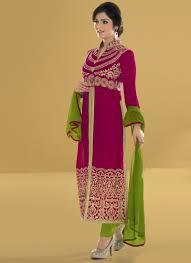 Pink Velvet Suit Design Blooming Hot Pink Velvet Pakistani Suit