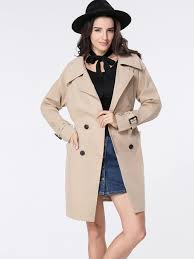 khaki trench coats lapel coat removable tie double ted material polyester long tu474158 for women