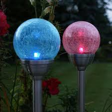 Large Crackle Solar Lights Large Solar Crackle Glass Ball Stake 2 Pack