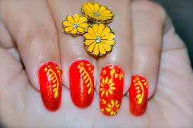 Red And Yellow Nail Designs Yellow Flower Nail Art Red And Yellow Nail Design Step
