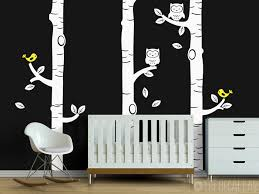 birch trees with owls and birds wall decal 1
