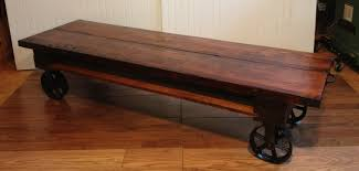 Industrial Looking Coffee Tables Light Brown Wooden Coffee Table With Wheels And Pallet Top