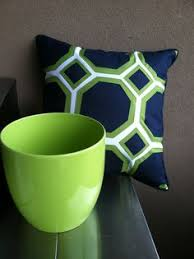 OUTDOOR Pillow Trio Royal Blue Green Medallion Print Solid Blue