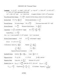 Physics 2 Formula Chart Physics 2 Formulas Almost Every Formula You Need Physics
