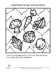 Small Picture Vegetables food group coloring sheet