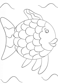 rainbow fish template coloring page