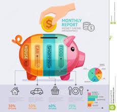 Save Money Monthly Chart Money Saving Monthly Report Infographics Template Stock