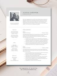 Modern Elegant Font For Resume Elegant Resume Template With Photo Instant Download Cv