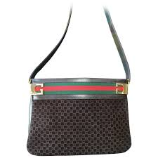 gucci bags brown. vintage gucci dark brown suede gg print shoulder bag with sherry line webbing for sale at 1stdibs bags