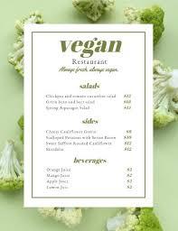 Online Menu Creator Online Vegan Restaurant Menu Template Fotor Design Maker