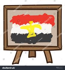painted vector egypt flag on canvas painting stand and white background