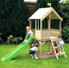 childrens wooden playhouse children playhouse with slide outdoor kids wood playhouse children garden sandpit ladder slide